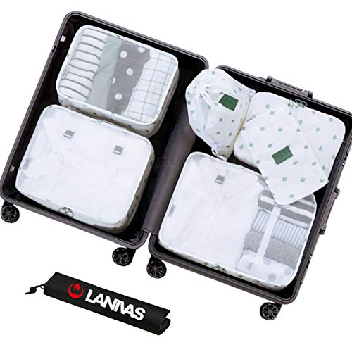 (Suitcase Organizer,Lanivas 7pc Clothing Packing Cubes for Camping Backpacking White Cactus )