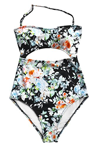Leaf Print Halter (Cupshe Fashion Women's Leaves Printing Stripe Halter One-Piece Padding Swimsuit with Cutout (L, Tender Night Print))