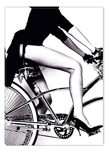 Inspirational Art Black and White Sexy Woman on the Bike Canvas Wall Art Abstract Picture Eco Light Framed Ready to Hang Artwork for Home Decoration by Inspirational Art
