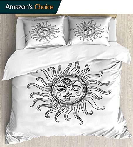 - Sun 3 PCS King Size Comforter Set,Doodle Style Vintage Symbol Retro Tribal Elements Stars Arrow Shapes and Crescent Moon Decorative 3 Piece Bedding Set with 2 Pillow Sham 68