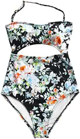 06981e7100cfa Cupshe Fashion Women s Leaves Printing Stripe Halter One-Piece Padding  Swimsuit with Cutout (L