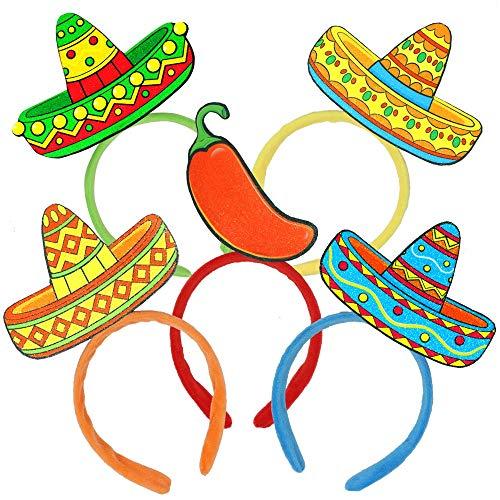 6 PCs Cinco De Mayo Fiesta Sombrero Headbands Party Hat for Fun Fiesta Hat Party Supplies, Luau Event Photo Props, Mexican Decorations for Festivals, Dia De Muertos,Taco Party Favors Men & Women]()