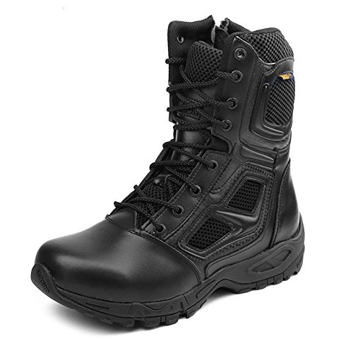 IODSON Black Men's Military Boots, Size Zip Tactical Combat Boots,Special Force Army Training Shoes,Ankle Desert Shoes (9 B(M) US, Black)