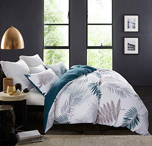 (SLEEPBELLA Duvet Cover Set, 600 Thread Count Cotton Leaf Botanical Pattern Print Comforter Reversible Quilt Cover Set (Queen, Peacock Blue-Leaf))