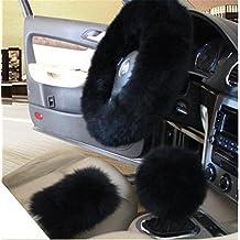 "3Pcs Winter Women Car Steering Wheel Cover Charm Warm Long Wool Plush Car Handbrake Cover Gear Shift Cover Set 14.96"" (black)"