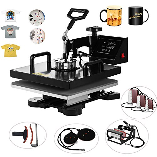 VEVOR Heat Presses 15 X 15 Inch 8 in 1 Digital Multifunctional Sublimation T Shirt Heat Press Machine 360 Degree Rotation Heat Press Machine for T shirts Hat Mug Plate (8in1 15X15Inch Auto-Countdown) by VEVOR