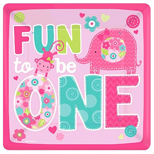 One Wild Girl 1st Birthday Square Plates, 8 Pieces, Made from Paper, One Wild Girl/Pink Theme Party, 10