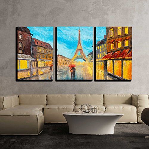 France Oil Painting (wall26 - 3 Piece Canvas Wall Art - Oil Painting of Eiffel Tower, France - Modern Home Decor Stretched and Framed Ready to Hang - 24