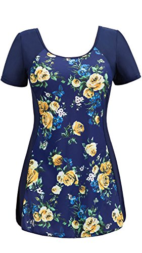 aping Swim Dress Boyleg Short Sleeve Swimdress Bathing Suit Navy Flower 20W-22W ()