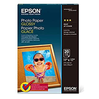 Epson S041156 Glossy Photo Paper, 52 lbs., Glossy, 11 x 17 (Pack of 20 Sheets),White