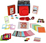 Fujifilm Instax Mini 8 - 14 Piece Gift Set of Fujifilm RASPBERRY Camera Case with Adjustable Strap - Selfie Lens - Stickers - Book Album - 4 Colored Filters - 10 Wall Hanging Frames with 5 Creative Frame