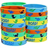 Jade's Party Packs Dinosaur World Jurassic Style Silicone Wristbands - Multicolor Roar Wristbands - Baby Dinosaur Bracelets! (24 Pack)