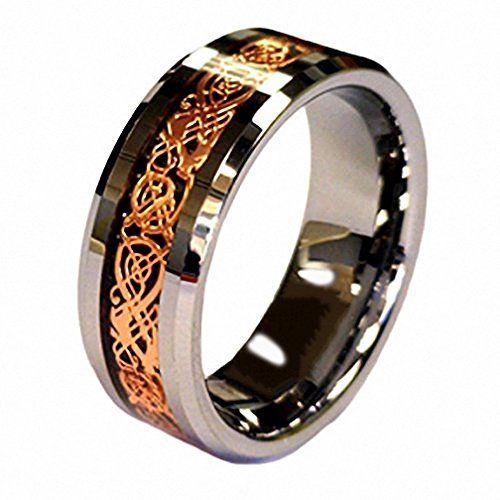 18k Green Cufflinks - 18K Rose Gold Plated Celtic Dragon 8mm Tungsten Carbide Wedding Band Ring Size 9