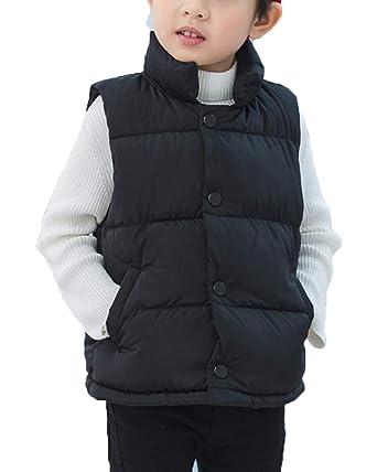 284c38676a895 Enfant Doudoune sans Manches Garçon et Fille Col Debout Gilet Veste Manteau  Noir 90cm