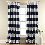Lush Decor Stripe Blackout Window Curtain, 84 by 52-Inch, Navy & Gray