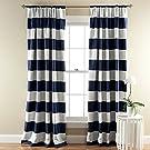 Lush Décor Stripe Room Darkening Window Curtain Panel, 84 inch by 52 inch, Navy, Set of 2