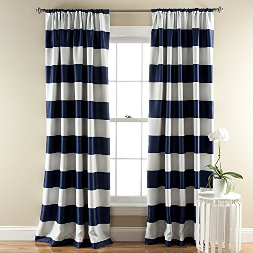 Lush Décor Stripe Room Darkening Window Curtain Panel, 84 inch by 52 inch, Navy, Set of 2