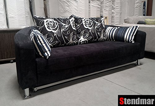 Superbe Amazon.com: Modern Round Sleeper Bed Sofa Black Microfiber B098b: Kitchen U0026  Dining