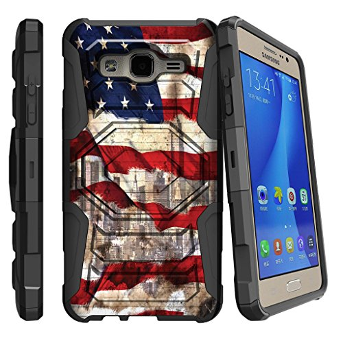 lovely MINITURTLE Case Compatible w/ Samsung Galaxy On5 Case, On5 Heavy Duty Case, O5 [Armor Reloaded] Dual Layer Shell Case + Clip and Stand Design Case American Flag NY