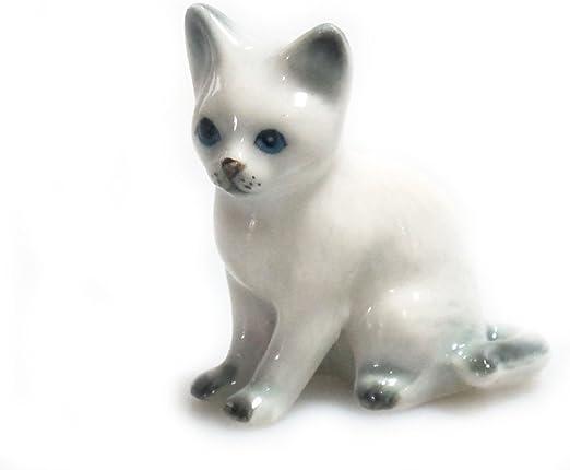 Miniature Tiny Cute Cat Siam Animal Figurine Ceramic Handmade Collectible Gift