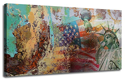 (Canvas Wall Art Prints Abstract Modern Colorful Blocks with Statue of Liberty Architecture Painting Picture, American Flag Design Large Wooden Framed for Living Room Bedroom Home Office Décor, 40