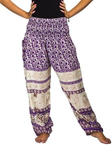 Lofbaz las mujeres Pantalones Harem Boho de cintura alforzada del Flaral Espiral talla única Floral Elephant Morado