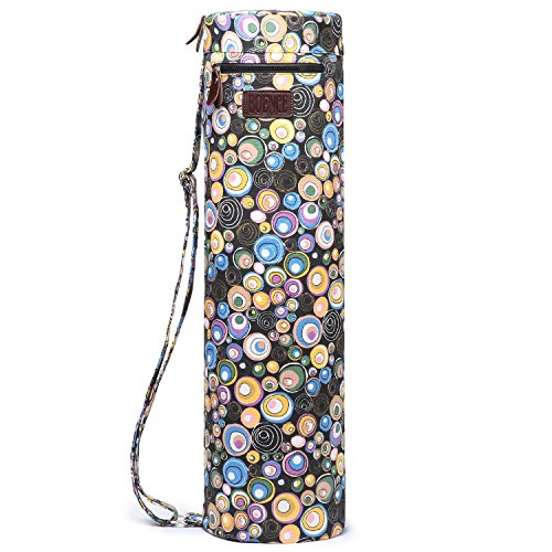 Boence Yoga Mat Bag, Full Zip Exercise Yoga Mat Sling Bag with Sturdy Canvas, Smooth Zippers, Adjustable Strap, Large Functional Storage Pockets – Fits Most Size Mats (Circles)