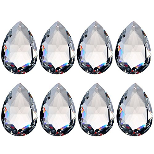 H&D 10pcs 50mm Chandelier Crystal Prisms Pendants - Clear Crystal Teardrops Parts ()