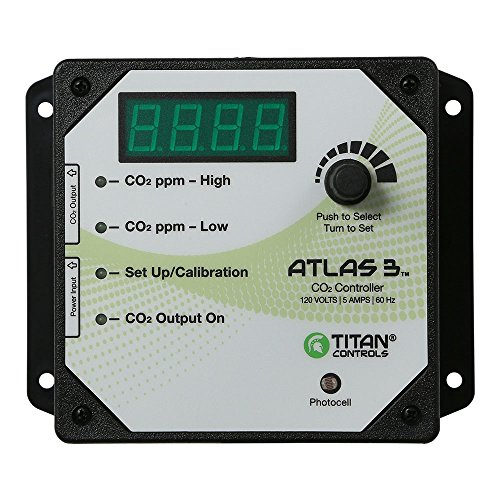 Titan Controls Day/Night Carbon Dioxide (CO2) Monitor & Controller w/ Photocell, 120V - Atlas 3 by Titan Controls