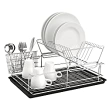 2-Tier Deluxe Chrome Plated Metal Kitchen Countertop Dish Drying Rack with Utensil Holder Basket