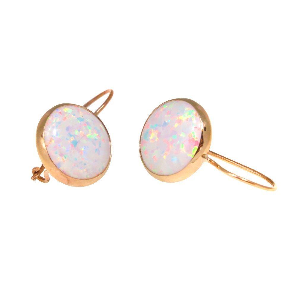 White Opal Earrings Handmade 14K Solid Yellow Gold