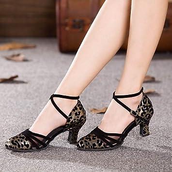 b1247c98 T.T-Q Zapatos de Baile para Mujer Tacón Cubano Moderno y sintético Más  Colores Negro y Dorado: Amazon.es: Deportes y aire libre