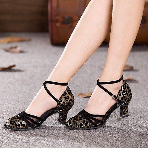 t Or Noir T Chaussures Pour q Couleurs Heel Cuban Et Synthétique De Plus Femmes Moderne Danse qSwZgd