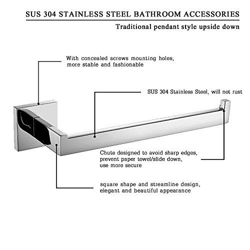 70%OFF Leyden 1 Piece Wall Mount Chrome Finish Stainless Steel Toilet Roll Paper Holder Bathroom Accessory