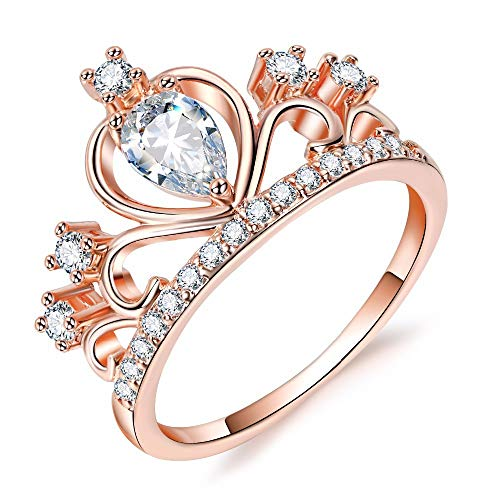 Presentski Women Crown Rings Tiara Princess Queen 18K Rose Gold Plated Tiny CZ Promise Ring (BD01G, 7)