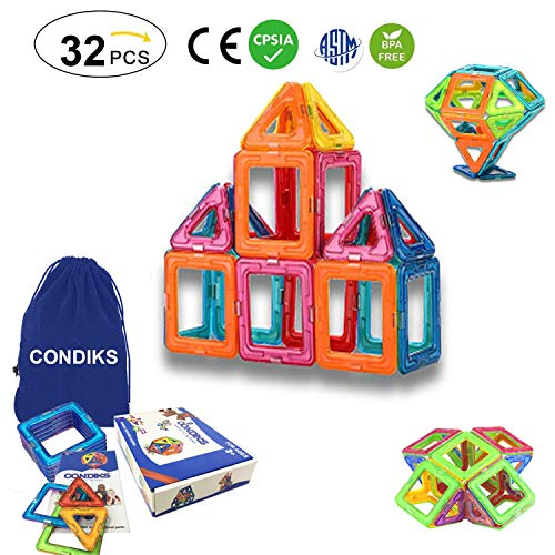 CONDIKS Magnetic Blocks, 32PCS Magnetic Building Blocks Set, Magnetic Tiles, Magnetic Toys Magnets for kids or Toddlers, STEM Educational Construction Puzzle Toys for Kids Age 3-8 Years Old boys girls