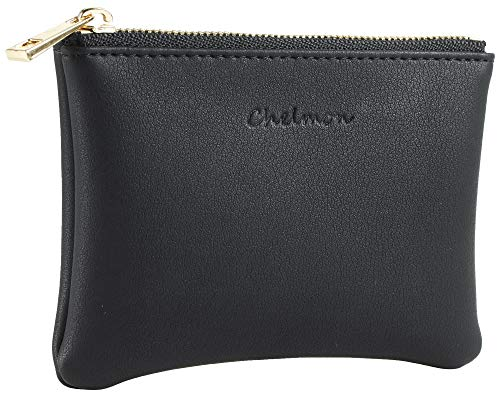 Chelmon Genuine Leather Coin Purse Pouch Change Purse With Zipper For Men Women (Black Up)