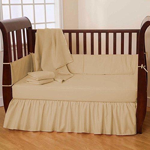 Nursery Baby Cradle Bedding Set 100% Egyptian Cotton 500 TC 3-Piece Set Fitted Sheet, Comforter, Bumper (Beige,Cradle)