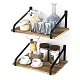 """Love-KANKEI Floating Shelves Wall Mount - Rustic Wood Wall Shelves with Large Storage (L 16.5"""" x W 11"""") for Kitchen Living Room Bathroom Bedroom Set of 2"""