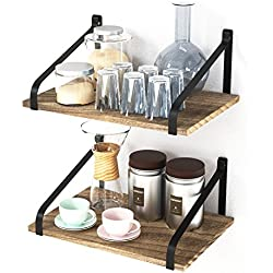 """Love-KANKEI Floating Shelves Wall Mount - Rustic Wood Wall Shelves with Large Storage (L 16"""" x W 11"""") for Kitchen Living Room Bathroom Bedroom Set of 2"""