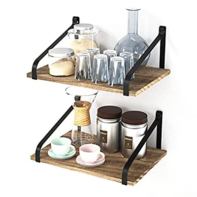 "Love-KANKEI Floating Shelves Wall Mount Rustic Wood Wall Shelves with Large Storage L16.5 x W12 inch for Kitchen Living Room Bathroom Bedroom Set of 2 Carbonized Black - 【FUNCTIONAL Wall MOUNT SHELVES】: The set of 2 floating shelves are Perfect choice for adding additional shelving space for books, collectibles, plants, crafts, photos and more in living room, bedroom, office, kitchen, pantry 【LARGE CAPACITY INDUSTRIAL SHELVES】: Dimension of wood with 16.5"" in Length and 12"" in Width offers a large space for storage or display in your kitchen, living room, bedroom, bathroom, entryway and more. The max weight capacity of each shelf is 29 lb, and you can hold a lot of items on it 【RUSTIC WOOD SHELVES】: Torched finish make a rustic style for storage on wall, a nice decoration shelves in your wall. - wall-shelves, living-room-furniture, living-room - 51gp2X9nK8L. SS400  -"