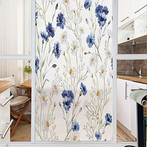 Decorative Window Film,No Glue Frosted Privacy Film,Stained Glass Door Film,Wildflowers and Cornflowers Daisies Blooms Flower Buds,for Home & Office,23.6In. by 78.7In Blue Sage Green -