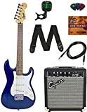 Squier by Fender Short Scale Stratocaster -Transparent Blue Bundle with Frontman 10G Amp, Cable, Tuner, Strap, Picks, Fender Play Online Lessons, and Austin Bazaar Instructional DVD