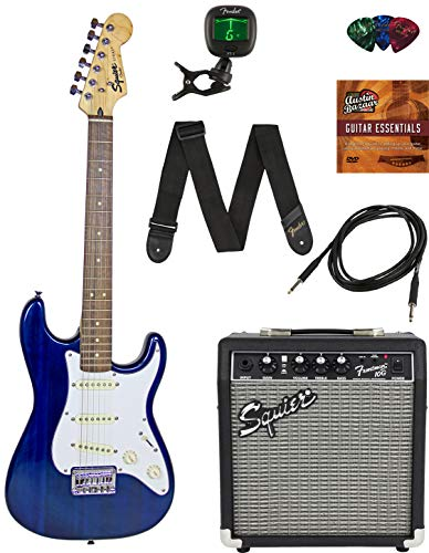 Squier by Fender Short Scale Stratocaster - Transparent Blue Bundle with Frontman 10G Amp, Cable, Tuner, Strap, Picks, Fender Play Online Lessons, and Austin Bazaar Instructional DVD
