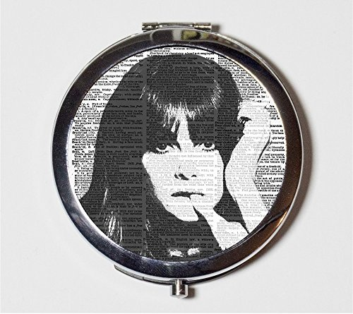 Pop Art Woman Compact Mirror Mod 1960s Girl Black White Portrait Make Up Pocket Mirror for Cosmetics]()