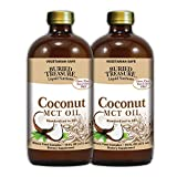Buried Treasure MCT Coconut Oil for Healthy Brain Function Increased Performance Keto and Paleo Diet Safe Flash Steamed Medium Chain Triglycerides 32 Ounce (Pack of 2)