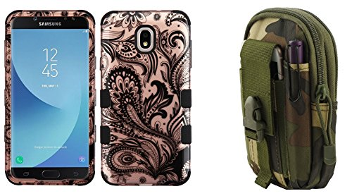 - TUFF Hybrid Protective Phone Cover Case (2D Paisley Flowers) with Jungle Camo Tactical EDC MOLLE Waist Holder Pouch and Atom Cloth for Samsung Galaxy J7 2018 J737 (J7 V 2nd Gen, Aero, Refine, Star)