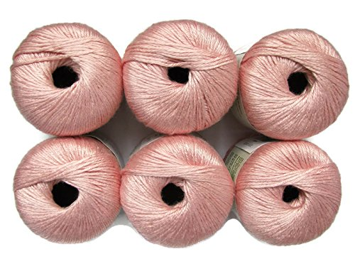 Silk Bamboo Yarn, 2.2oz, 6-Pack (Blush)