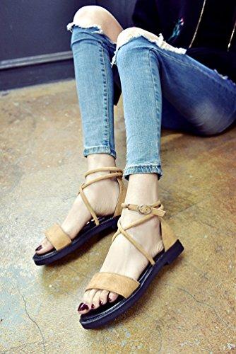 YOUJIA Women Summer Beach Shoes Bohemia Ankle-wrap Strappy Peep Toe Flip-Flop Flats Slippers Roman Sandals Khaki idrsW