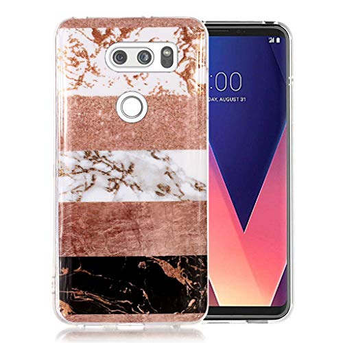 LG V30/LG V30s/LG V30 Plus/LG V35/LG V35 ThinQ Case, Ranyi Bling Glitter Multi-Colored Marble Pattern Transparent Clear Bumper Shock Absorbing Slim Flexible Rubber TPU Protective Case ()